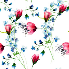 Fototapeta Kwiaty Seamless wallpaper with wild flowers