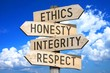 canvas print picture - Wooden signpost with four arrows - ethics, honesty, integrity, respect - great for topics like business values etc.