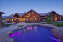 Entrance To A Ranch Home Exterior At Dusk