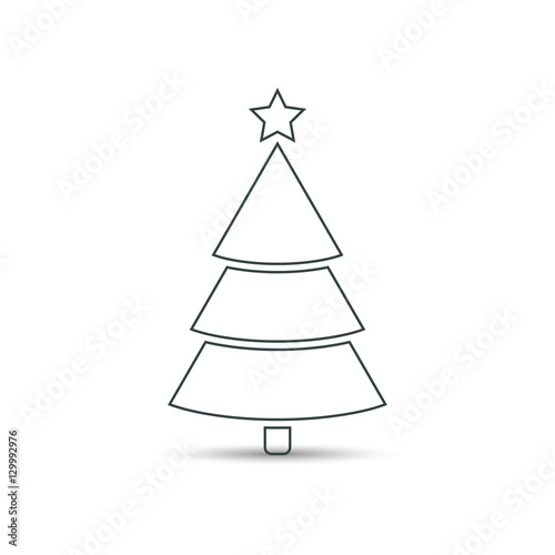 Christmas tree flat outline icon, vector simple design with