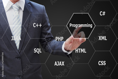 Photo  Programmer hand touching virtual panel of programming languages,