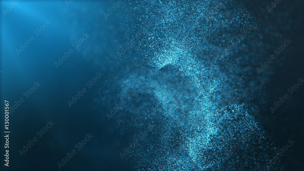 Fototapety, obrazy: Digital particles floating wave form in the abyss abstract cyber technology de-focus background