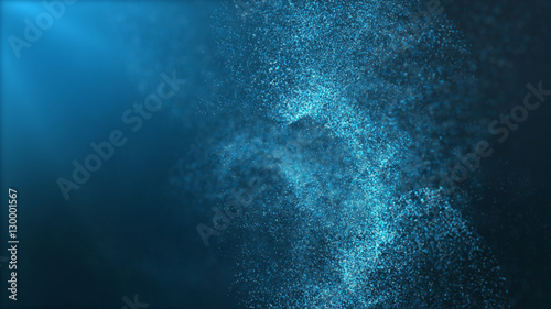 Fotobehang Abstract wave Digital particles floating wave form in the abyss abstract cyber technology de-focus background