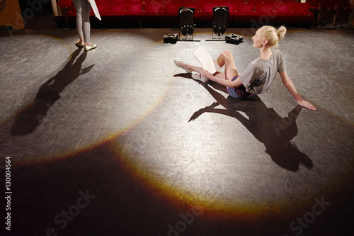 Young woman on stage Canvas Print