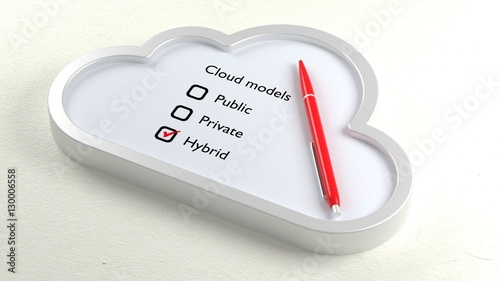 Foto  Three different cloud checklist and hybrid crossed off