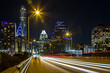canvas print picture - Austin downtown as observed from Congress Avenue Bridge