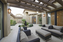 View Of An Outdoor Room Of A Modern Home