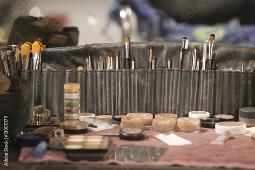 Professional cosmetics brushes on dressing table Canvas Print