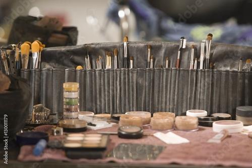 Obraz na plátně  Professional cosmetics brushes on dressing table