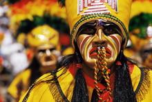 Portrait Of A Tobas Warrior During Carnival Called The Devil Dance (La Diablada), Oruro, Bolivia