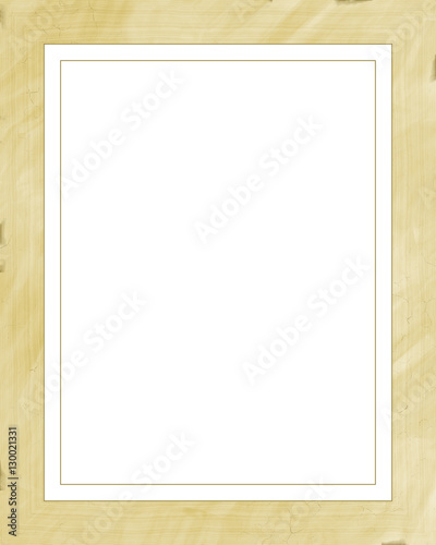 Yellow vintage picture frame isolated on white background. Digital ...