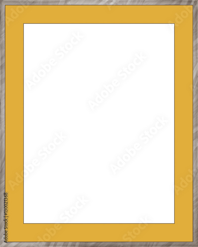 Yellow picture frame isolated on white background. Digital ...