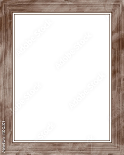 Brown picture frame isolated on white background. Digital ...