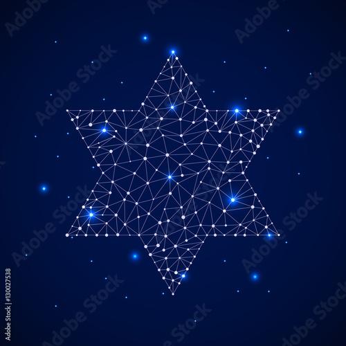 Fotomagnes Constellation - żydowska gwiazda. Tło gwiazdy z żydowską gwiazdą. Niebiańska mapa z konstelacją w postaci żydowskiej gwiazdy.
