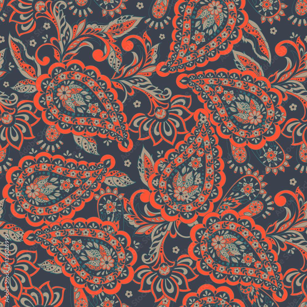 Paisley seamless pattern. Vintage floral wallpaper