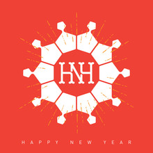Happy New Year Card With Snowf...
