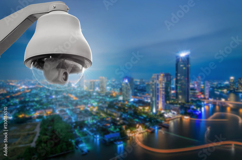 Photo Stands Shanghai CCTV with city view.