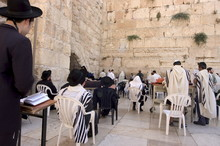 Praying At The Western (Wailing) Wall, Old Walled City, Jerusalem, Israel