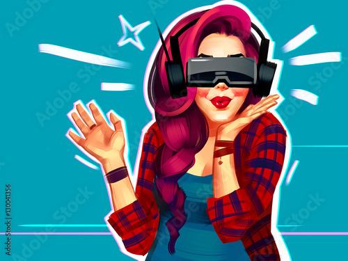 portret-szczesliwej-mlodej-kobiety-z-emocjami-z-rzeczywistosci-wirtualnej-ilustracja-rastrowa-na-bialym-tle-na-niebieskim-tle-komiksowy-styl-kreskowek-pin-up-muzyka-pop