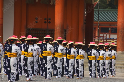 Procession of traditional costume entering Heian Shrine during the Jidai Festival of the Ages started in 1895, commemorating 1100 years since the start of the capital, Kyoto, Honshu Island, Japan, Asia