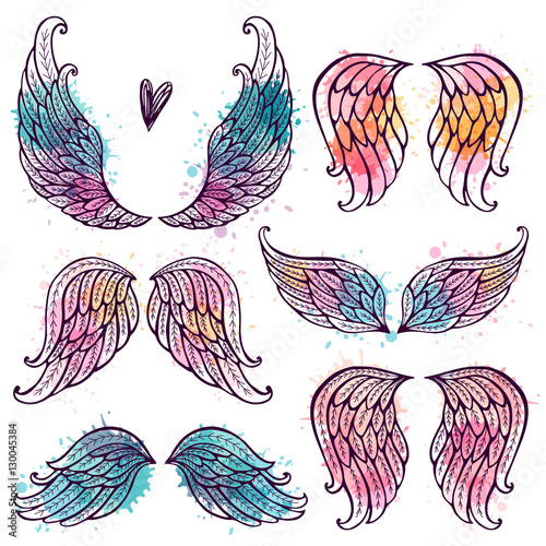 Set of illustrations with angel wings. Freehand drawing Wall mural
