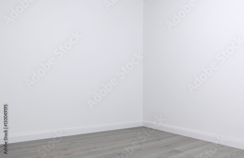 Foto op Aluminium Wand White walls and wooden flooring in the corner of empty room