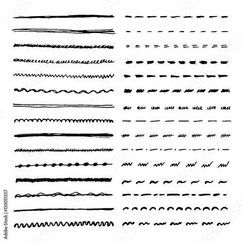 Obraz Set of hand drawn lines. Vector dotted, zigzag, wavy and straight lines for brushes - fototapety do salonu