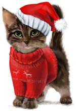 Kitten Christmas Painting