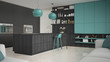 Minimalistic gray kitchen with wooden and turquoise details, min