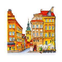 Obraz na Szkle Warszawa Color hand drawing, Castle Square, Piwna street and Bell tower of St. Martin's Church in the morning, Warsaw Old town, Poland. Picture made liner and markers