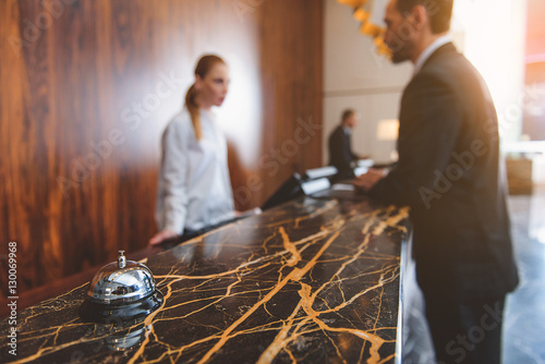Registration desk in modern hotel