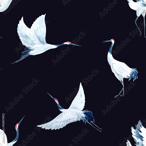 Cotton fabric Watercolor crane pattern