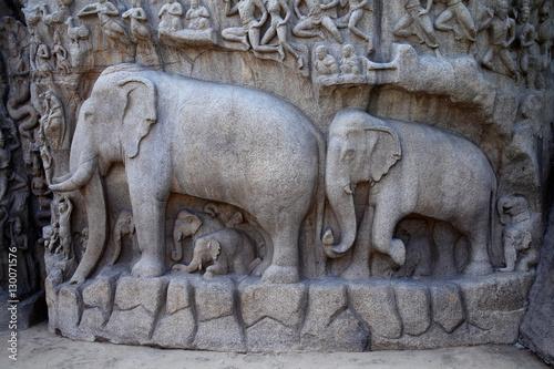 Fotografia, Obraz  Arjuna's Penance Bas-relief in Mahabalipuram