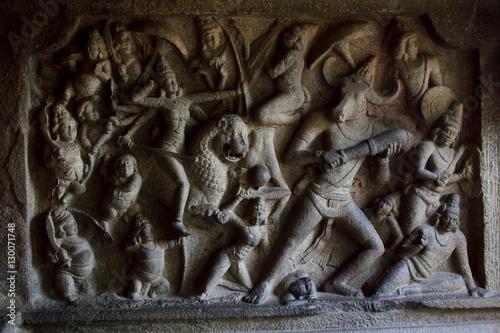 Fotografie, Obraz Mahishasuramardhini Mandapam, Mahabalipuram, India