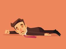 Hard Work. Office Worker Character Lying On The Floor. Vector Flat Cartoon Illustration