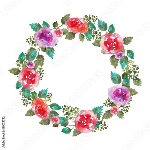 Vector Vintage floral wreath wedding frame with rose flowers
