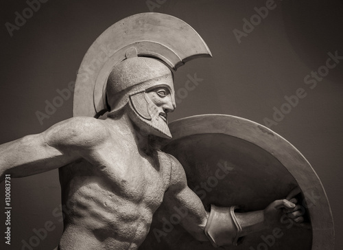 Obraz na plátně Head in helmet Greek ancient sculpture of warrior