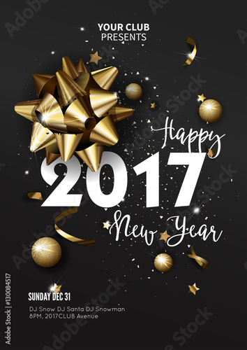 happy new year 2017 greeting card or poster template flyer invitation design