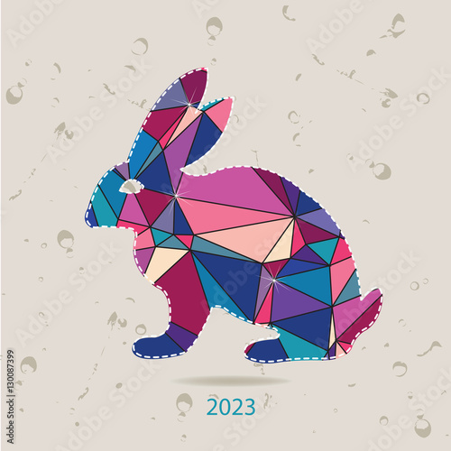 Fotografia  The 2023 new year card with Rabbit made of triangles
