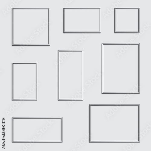 Vector silver photo or picture frame in different proportions and ...