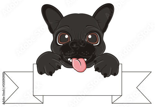 Dog Puppy Black Folds Cartoon French Bulldog France French