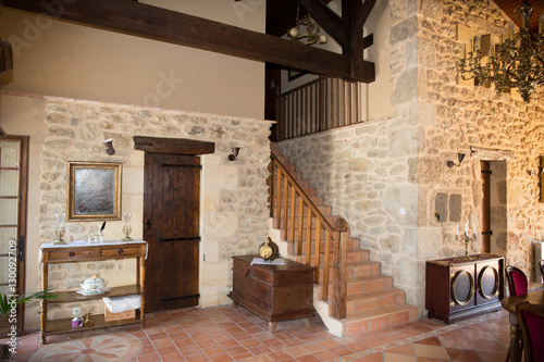 interior of an old house with wooden and stone