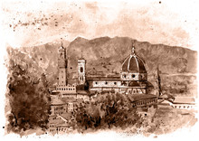 Monochrome Vintage Illustration Of Florence, Italy. Cathedral Santa Maria Del Fiore, Mounting View. Watercolor Painting, Design For Postcard Or Other.