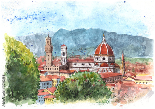 Fotografie, Obraz  Watercolor painting of Florence, Italy