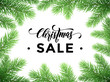 Christmas Sale poster with pine tree branches