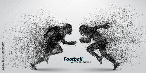 фотографія  silhouette of a football player from particle