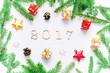 New Year 2017 background with 2017 figures,Christmas toys, fir branches - New Year 2017 composition