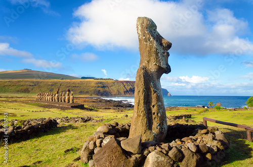 Moai statues on Easter Island at Ahu Tongariki in Chile Canvas Print