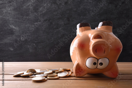 Valokuva  Concept of spending the savings with piggy bank upside down