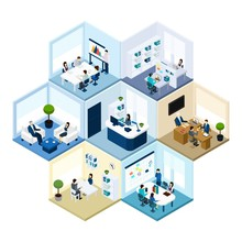 Office Hexagonal Tessellated Pattern Isometric Composition
